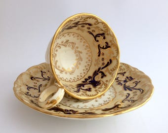 Early 19thC Davenport cup and saucer with Phoenix pattern FREE SHIPPING