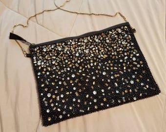 Vintage black beaded and rhinestone evening purse