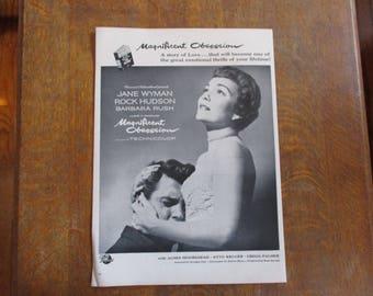 "1954 Original Vintage Movie ad ""Magnificent Obsession""  starring Jane Wyman, Rock Hudson and Barbara Rush"