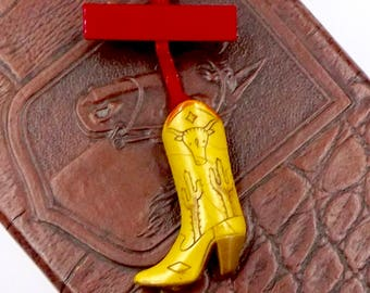 Vintage Plastic Cowgirl Cowboy Boot Pin Circa 1950's Southwestern Style #101