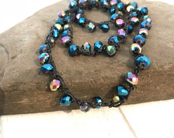 Crochet wrap necklace, blue and blue AB beaded necklace, Fire polished Czech bead crochet necklace