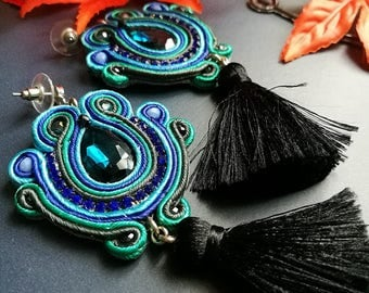 Elegant Blue Sapphire Crystal Soutache Earrings Statement Earrings Ethnic Boho Chic Turquoise and Black Tassel Earrings
