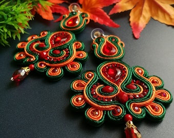 Elegant Red Ruby Crystal Soutache Earrings Handcraft Statement Earrings Ethnic Boho Chic Wedding Earrings Orange and Green