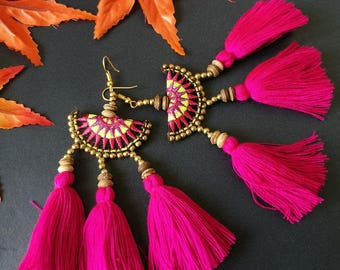 Handcraft Half Moon Embroidered Tribal Ethnic Earrings Statement Dangle Drop Boho Chic Beaded Tassel Pink Wedding Earrings