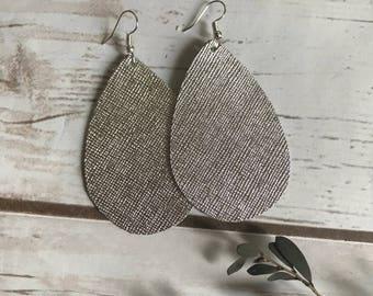 Silver Saffiano Thicker Leather Teardrop Leather Earrings