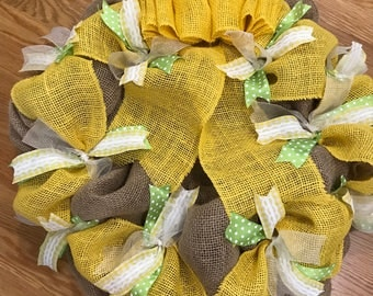 Dreaming of Spring Burlap wreath, yellow burlap ribbon and Spring colors