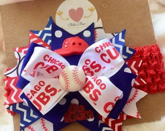 Chicago Cubs Hair bow, headband, ribbon, red, blue, white, baseball