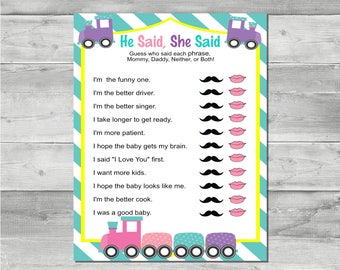 DIY Instant Download Printable Train Baby Shower Game-He Said, She Said BS007