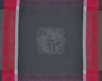 Barocos Gray-Pink Napkin, French Jacquard