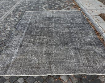 Gray Color Overdyed Rug Free Shipping Kingsize Rug 7 x 9.6 ft. Floor Rug Faded Color Rug Large Size Rug Handknotted Turkish Rug MB138