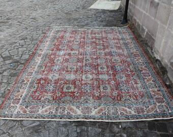 τούρκικο χαλί Turkish Rug 6.8 x 10.0 ft. Pale Red Color Free Shipping Handmade Carpet Large Rug Boho Rug Anatolian Hand knotted Rug MB177