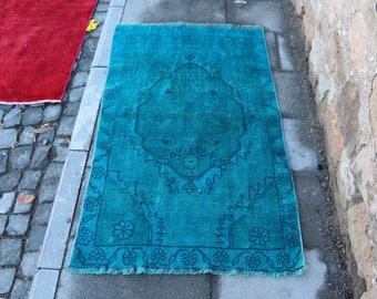 Blue Color Turkish Rug Overdyed Rug Free Shipping 2.6 x 4.3 ft. Bohemian Bathroom Rug Oushak Overdyed Rug Nomadic Rug Small Size Rug MB297