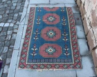 Nomadic Rug Free Shipping 2.8 x 4.3 ft. aztec rug, handknotted anatolian rug, decorative turkish rug, organic natural wool rug, MB310