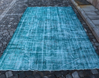 Turquoise color rug, Free Shipping 6.2 x 9.3 ft. Turkey carpet, large size rug, bohemian area rug, oversize hall rug, handknotted rug MB316