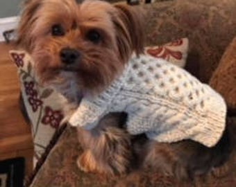 Irish Aran Hand Knit Dog Sweater