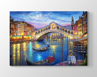 The Romantic Night in Venice Printing On Canvas, Wall Art, Canvas Prints, Room Deco, Beautiful View, Wonder, Romantic Painting, Italy