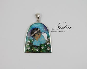 Angel,Cloisonne enamel,Handmade jewelry for women,Pendant,Gifts for women,Mother day gifts,Gifts for mom,Best friend gifts,Sterling silver