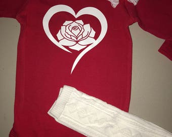 Valentines heart shirt with headband and leg warmers