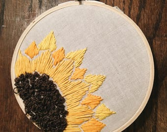 "Sunflower 6"" hoop embroidery"
