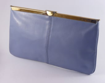 Forget-me-Not Blue / Lilac Leather Vintage Clutch Bag