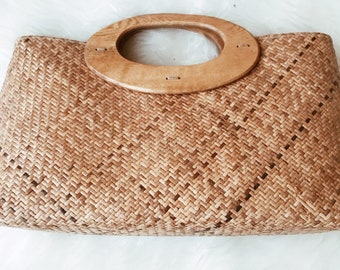 Vintage wicker clutch, vintage clutch, vintage handbag, vintage bag, vintage purse
