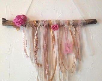 Wall hanging driftwood and ribbons