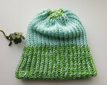 Adult blue and green beanie