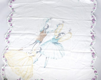 Vintage ballet hankie, new with tag, gorgeous handkerchief, yellow, blue and purple, ballerina, made by Morsly in Switzerland