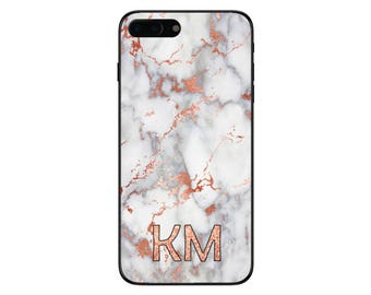 Personalised Rose Gold Glitter Text Marble Initials Phone Case for Apple iPhone and Samsung Galaxy 5 6 6s 7 8 10