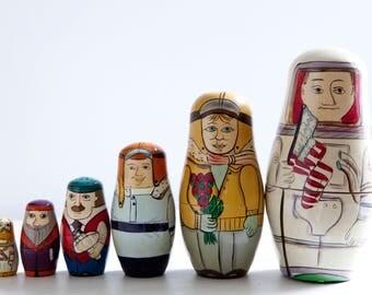 Vintage Aviator Explorers Nesting Dolls