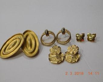 Lot of Vintage Gold Tone Pierced Earrings 4 pair