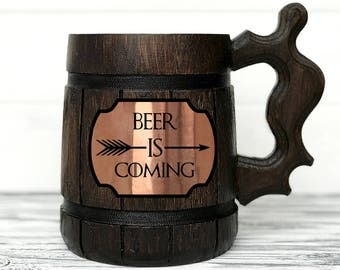 Game Of Thrones Gift. BEER IS COMING Mug. House Stark Mug. Beer Steins. Winter is Coming. Personalized Gift. Wooden Beer Tankard Gift #93