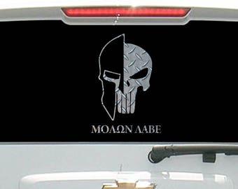 Molon Labe Tactical Skull Helmet Diamond Plate