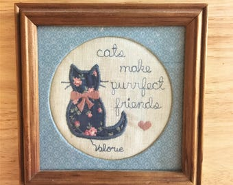 Cats Make Purrfect Friends Stitched Artwork in Frame / Cat Cross Stitch Art / Framed Sewing / Cat Craft Picture Framed / Cat Lover Gift