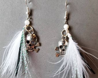 """Exotic Black and White Feather Earrings with """"Silver"""" Skull"""