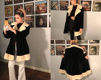 "Vintage 70's Black and White Furry ""Jackie"" Coat S-M"