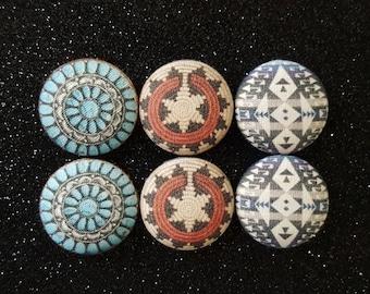 Native American design fabric button earrings