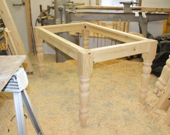 Farmhouse pine table frame kit with 94mm hand turned legs 1120 mm x 660mm