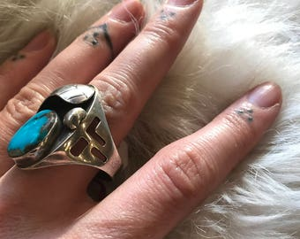Sterling silver mens ring. Turquoise