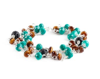Turquoise and Amber Colored Glass with Lava Stone Three Layered Beaded Bracelets Jewelry Wire Wrapped With Silver Wire Handmade