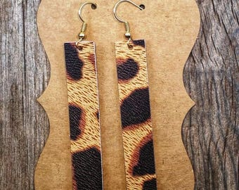 Leopard Leather Earrings (Bar)