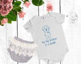 My Big Brother Doodle - Baby Onsie Rip Snap Tee - Goldendoodle / Labradoodle / Baby SheepaDoodle