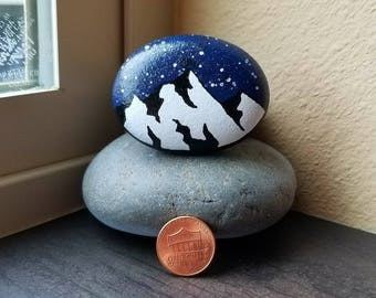 Starry Mountains (Rock Painting)