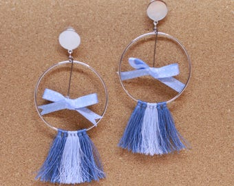 Baby blue ribbon tassels earrings