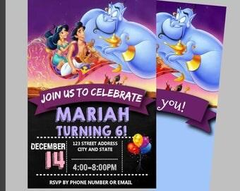 Instant Download, Aladdin Birthday Invitation, Aladdin Invitation, Aladdin Invitation, Chalkboard- Free Thank You Card