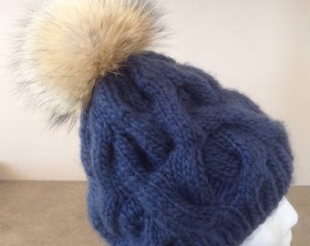 Handknit Adult Toque with Genuine fur PomPom