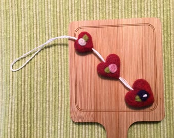 Trio of felted hearts ornament