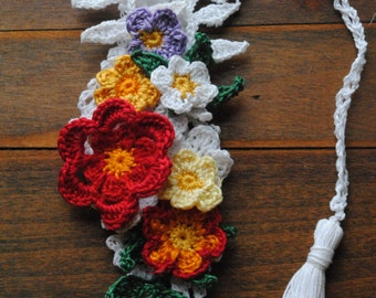 Spring garden crochet bookmark
