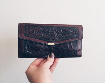 Vintage Women's Hand-tooled Leather Wallet