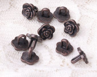 flower button 10pcs 8*8mm tiny fashion beautiful metal copper button coat shank button